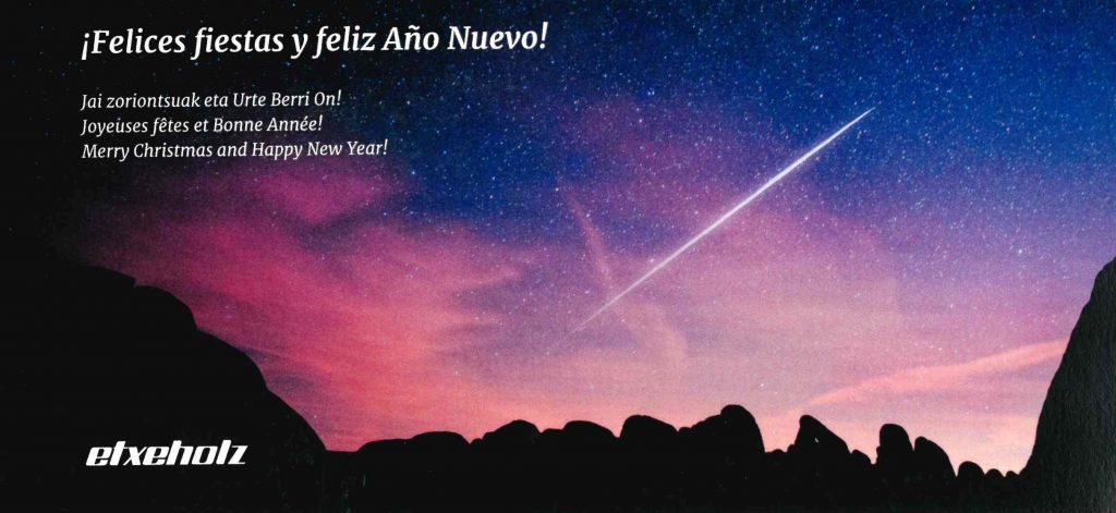 ¡Felices fiestas y próspero año nuevo! Jai zoriontsuak eta urte berri on!